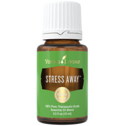 Young living stress away oil bottle with a volume of 15 ml .