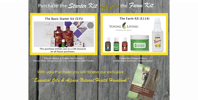 Purchase Young living Essential oil Farm Basic & Premium Starter kit.Receive Essential oils & Alpaca Natural health handbook.